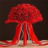Amazon.co.jpウェディング 花嫁 ブーケ ブライダル バラ ラインストーン レース リボン 造花 花束 ラウンドブーケ 結婚式 二次会 撮影 赤