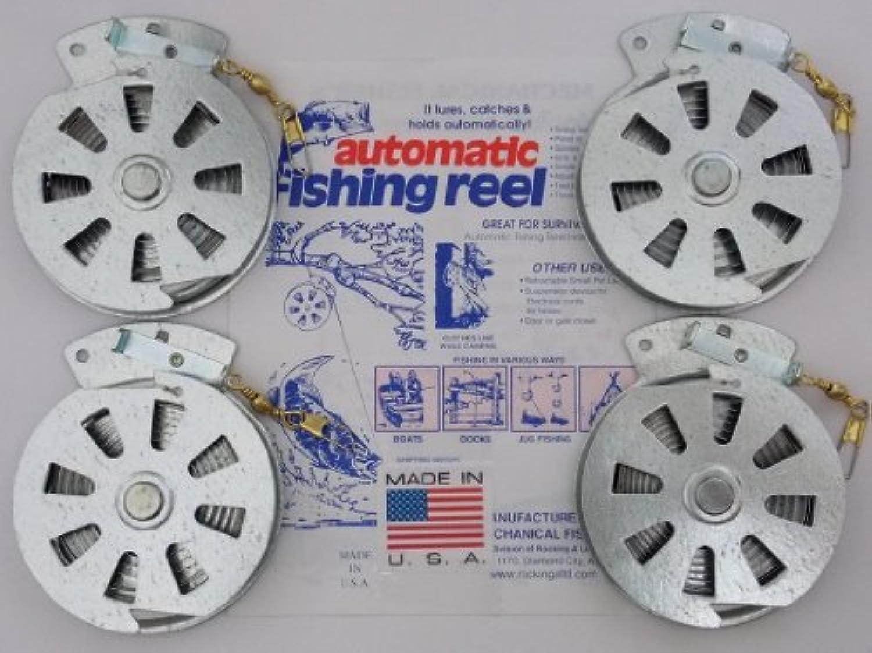4 Mechanical Fisher's Yo Yo Fishing Reels -Package of 4 Reels- Yoyo Fish Trap -(FLAT TRIGGER MODEL) [並行輸入品]
