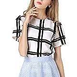 MIOIM ブラウス レディース 黒白色 チェック スタイル ワイルド 半袖 トップス 夏 エレガント カジュアル Tシャツ シフォン シャツ