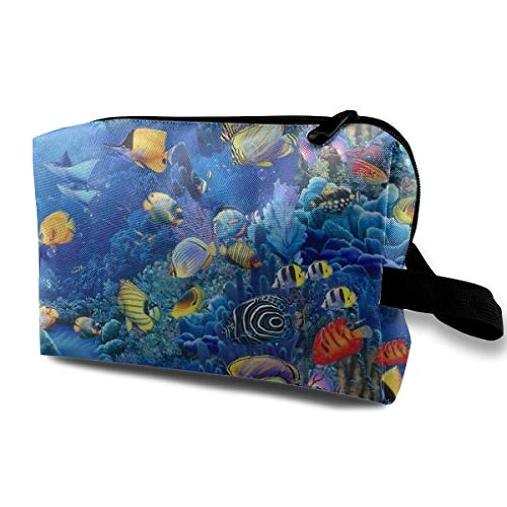 突破口管理者校長Sea Life Fish In The Underwater 収納ポーチ 化粧ポーチ 大容量 軽量 耐久性 ハンドル付持ち運び便利。入れ 自宅?出張?旅行?アウトドア撮影などに対応。メンズ レディース トラベルグッズ