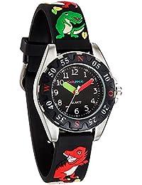 [チックタック] TICKTOCK キッズ腕時計 クオーツ アナログ表示 子供 ガールズ ボーイズ 恐竜 ウォッチ (ブラック)