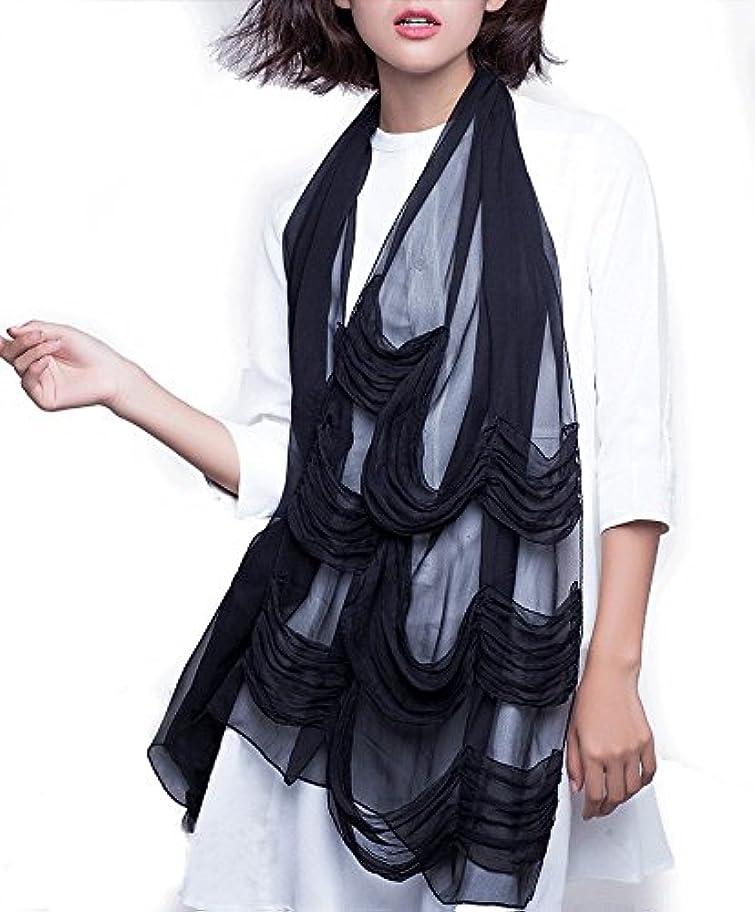 ほのか面白いおばさんcomfycrown スカーフ シルク100% おしゃれなシワ加工 UVカット 185 * 50cm 55g レデイース 春夏 薄手 ストール