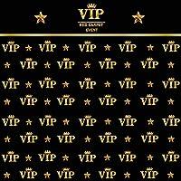 10x10フィート ハリウッドVIPゴールド ロイヤルクラウンスター ブラック 卒業パーティー 写真クロス コンピュータプリント カスタマイズ可 写真背景幕 VIP ベビーシャワー キッズ 誕生日パーティー 背景 写真スタジオ小道具
