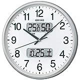 セイコークロック 掛け時計 02:銀色メタリック 01:直径35cm 電波 アナログ カレンダー温度 湿度 表示 BC405S