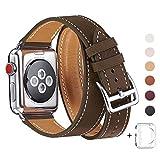 WFEAGL コンパチブル Apple Watch バンド,は本革レザーを使い、iWatch Series 4/3/2/1、Sport、Edition向けのバンド交換ストラップです コンパチブル アップルウォッチ バンド (42mm 44mm, 二重巻き型 キャメルブラウン)