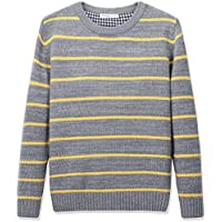 CUNYI Boys' Cotton Crewneck Striped Knit Sweater Pullover