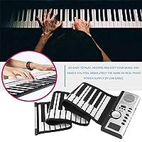 電子ピアノキーボード、ポータブル61キー128トーンデジタルキーボード弾性折りたたみ式ピアノ充電式楽器をロールアップ