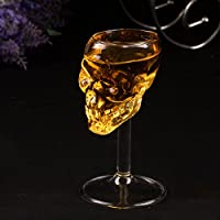 頭蓋骨ワイングラス、2pcs 2本75ミリリットル頭蓋骨ショットグラススカルガラスクリスタルスカルヘッドワイングラスカップマグホーム/バー/パーティー