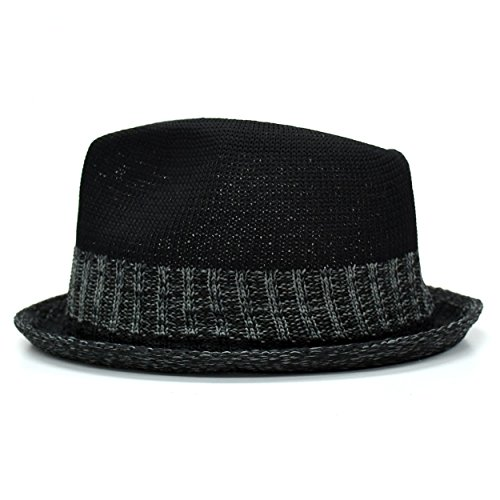 (ランスコ) LANSCO.VI. 全6柄 メンズ ポリエステル 100% 中折れ サーモコンビ マニッシュ ハット フリーサイズ カジュアル バイカラー ブランド 帽子 ビジカジ ブラック 60 12