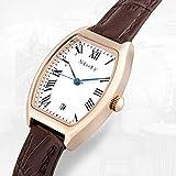Nioly 腕時計 レディース スタンダード アナログ ウォッチ ピンクゴールド ブラウン本革 日付表示【化粧箱、保証書付き】 (ブラウン)