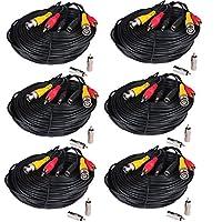 VideoSecu 6パック150ftセキュリティカメラBNCオーディオビデオ電源ケーブルpre-made All - in - One Extension Wire Cord With BNC RCAコネクタfor 720p 960p 1080p HD 960h CCTV監視カメラWVj