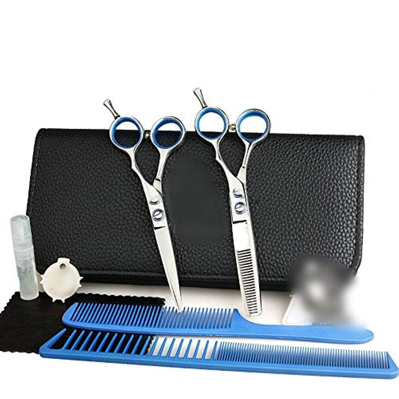 促進するのキロメートル5.5インチ理髪はさみセット、フラット+歯シザー理髪はさみツールセット モデリングツール (色 : Silver)