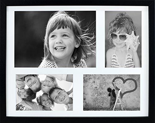 11x14インチ(28x35.5cm) マルチアパーチャ写真フォトフレーム KGのサイズ,4x6インチ(10x15cm) の写真なら3枚、A5サイズの写真なら1枚,ブラック