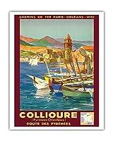 コリウール、フランス - Pyr?n?es Orientales (東ピレネー) - ピレネー山脈を抜ける道 - パリ・オルレアン・ミディ鉄道 - ビンテージな鉄道旅行のポスター によって作成された E・ポール・シャンプセックス 1934 - アートポスター - 41cm x 51cm