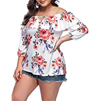 JOYMODE Women's Plus Size Blouse Off Shoulder Chic Floral Print 3/4 Elastic Sleeve Tops Tees
