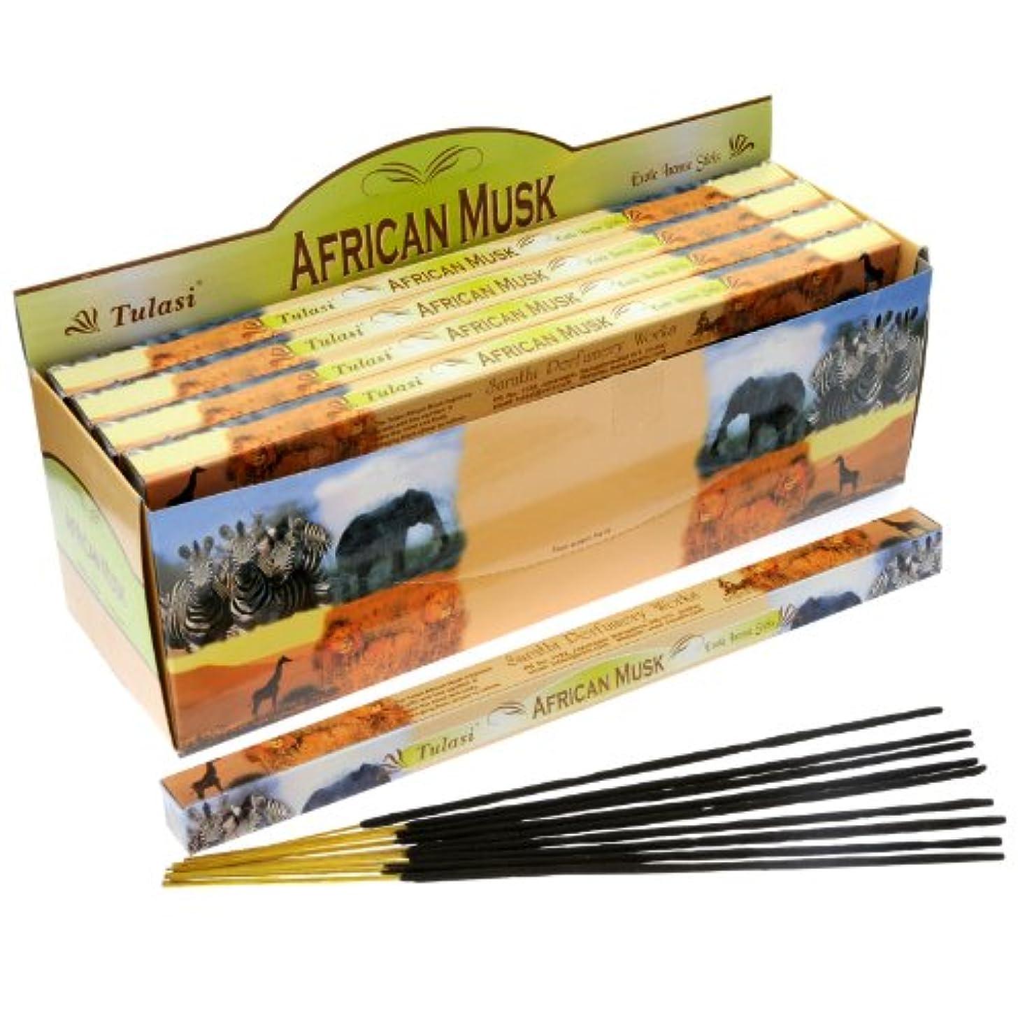 蛾技術雨Tulasi African Musk Incense、8 Sticks x 25パック
