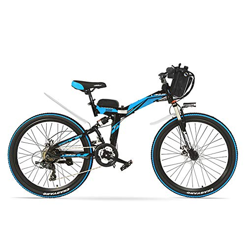 K660 26インチ36V 15A折りたたみマウンテンバイク、強力なモーター、フルサスペンション、高炭素鋼フレーム、駆動補助機付自転車 (ブラックブルー, 500W)