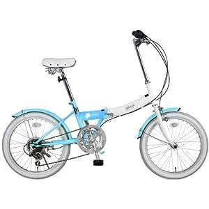 B-GROW 20インチ 折りたたみ自転車【カラフルツートーン低床フレーム】 6段変速 TRAILER SKY(スカイブルー) BGC-N10-SKY