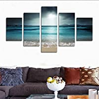 Cozy 5 Pieceアートモダンホームの壁装飾絵画のキャンバスの印刷から写真の風景海とビーチ(フレームなし) Unframed far146 50インチx30インチ