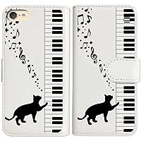 sslink iPod touch6 アイポッドタッチ6 手帳型 ホワイト ケース ピアノと黒猫 ネコ 音符 ミュージック ダイアリータイプ 横開き カード収納 フリップ カバー
