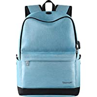 Bookbags for Women, Middle High School Backpack for Boys/Girls, Travel Water Resistant Laptop Backpack for College Student, Fits 15.6 Inch Notebook Canvas Outdoor Rucksack with USB Port- Azure