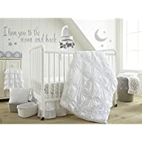 Levtex Baby Willow White 5-Piece Crib Bedding Set, Quilt, 100% Cotton Crib Fitted Sheet, 3-tiered Dust Ruffle, Diaper Stacker and Large Wall Decals [並行輸入品]