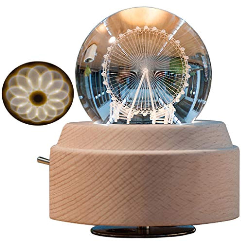 Amperer ヴィンテージオルゴール 星座回転式女神LEDライト付き キラキラ樹脂彫刻メカニズムオルゴール サンキョー 18音符 誕生日プレゼントに