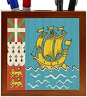 Rikki Knight Saint Pierre and Miquelon Flag on Distressed Wood Design 5-Inch Wooden Tile Pen Holder (RK-PH8778) [並行輸入品]