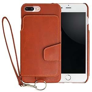 <iPhone 7 Plus用> RAKUNI (ラクニ) 本革 背面ポケット型ケース(キャラメル)前面むきだし/ストラップ付き/スタンド機能/財布がわりに(茶)