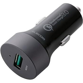 エレコム カーチャージャー シガーソケット カー用品 【iPhone&android対応】 USBポート×1 (QuickCharge3.0) 電流自動識別 ブラック MPA-CCUQ01BK