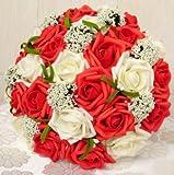 [Neustadt] ウェディングブーケに バラ 造花の ブーケ (ホワイト×レッド)
