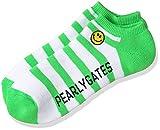 (パーリーゲイツ)PEARLY GATES [ メンズ ] 定番 シンプル スマイル ロゴ パイル ボーダー柄 アンクル ソックス 053-7186103 053-7186103 131 ホワイト X グリーン FR