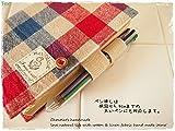 手帳カバーほぼ日手帳オリジナルサイズ対応バタフライタイプ トリコロール マリン 綿麻ハーフリネン 画像