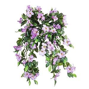 アザレア人工シルク花Hanging Plant Vine withoutバスケットパーティー結婚式庭の装飾DIYガーランド2個のパック パープル XFL-001