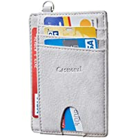 Casmonal Genuine Leather Slim Minimalist Front Pocket Wallets RFID Blocking Credit Card Holder for Men & Women