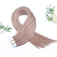 FidgetGear Remyの人間の毛髪延長7A 40cmの継ぎ目が無いPUの皮のよこ糸の方法16インチテープ #08栗茶色