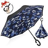 逆転傘 逆さ傘 逆折り式傘 自立傘 長傘 手離れC型手元 耐風 撥水加工 晴雨兼用 ビジネス用 車用 UVカット遮光遮熱 傘ケース付き ブルー/ホワイトリーフ