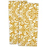 DII 100% Cotton, Everyday Basic Kitchen Dishtowel, Tea Towel, Drying, Damask Printed, 18 x 28 Set of 2- Mustard