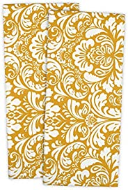 DII 100% Cotton, Everyday Basic Kitchen Dishtowel, Tea Towel, Drying, Damask Printed, 18 x 28 Set of 2- Mustar