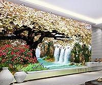 Minyose 壁の3Dのための注文の現代家の屋内壁紙HDの滝の桜の風景画の背景の壁の壁紙-350cmx245cm