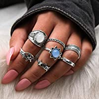 Victray Boho Ring Set Rhinestone Hollow Carved Rings Stylish Fashion Bracelets Hand Accessories Jewelry for Women and Girls (7 PCS)