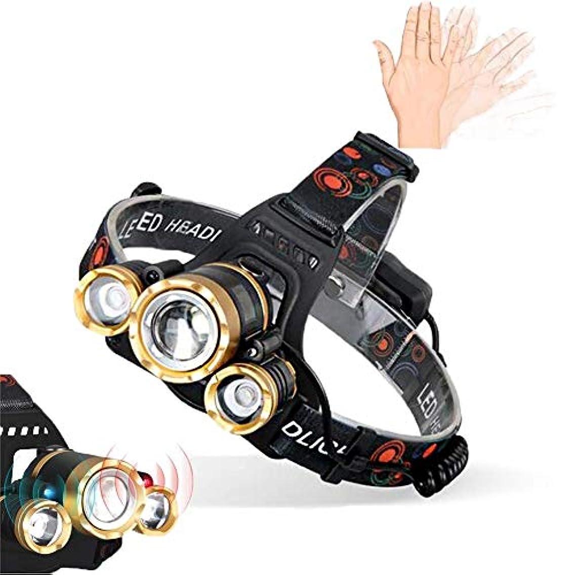 アブセイコーン飲み込むヘッドライト懐中電灯ヘッドライト用防水ヘッドライト、最も明るい3 LEDヘッドランプ懐中電灯、充電式ヘッドランプ夜間走行用キャンプ用充電式