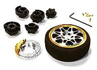 Integy RC Model Hop-ups C26403BLACKGOLD Dual 8 Spoke Steering Wheel Set for Most HPI, Futaba, Airtronics, Hitec & KO