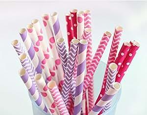 who's store ピンクとローズピンク 水玉とストライプ  ペーパーストロー特別なデザイン PAPER STRAWS カラフル ウェディング、誕生日パーティー、お祝い、結婚式、記念日などお楽しみ使ってください