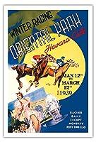 ハバナ、キューバ - 冬競馬、オリエンタルパーク - そこに食事やレース後にグランカジノナシオナルで踊っされます - ビンテージな世界旅行のポスター c.1937 - アートポスター - 76cm x 112cm