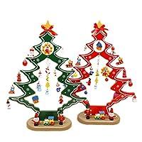 クリスマスツリー デスクオーナメント 卓上 置物 デコレーション クリスマス プレゼント ミニ クリスマスツリー 木製飾り かわいい