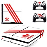 アディダス Hambur? Protective Vinyl Skin Decal Cover for Sony PlayStation 4 PS4 Console & Remote DualShock 4 Controller Sticker Skins --- Adidas Design White by Hambur [並行輸入品]