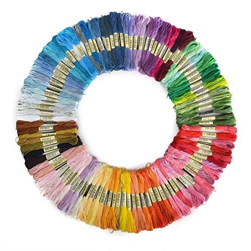 とにかく高発色 カラフル刺繍糸 刺繍針セット クロスステッチ リリアン ミサンガ 組みひも (50色)