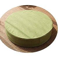 クッション丸い畳綿のリネンアート布団和式洗濯クッション瞑想ヨガマット,ライトグリーン,直径60cm厚10cm