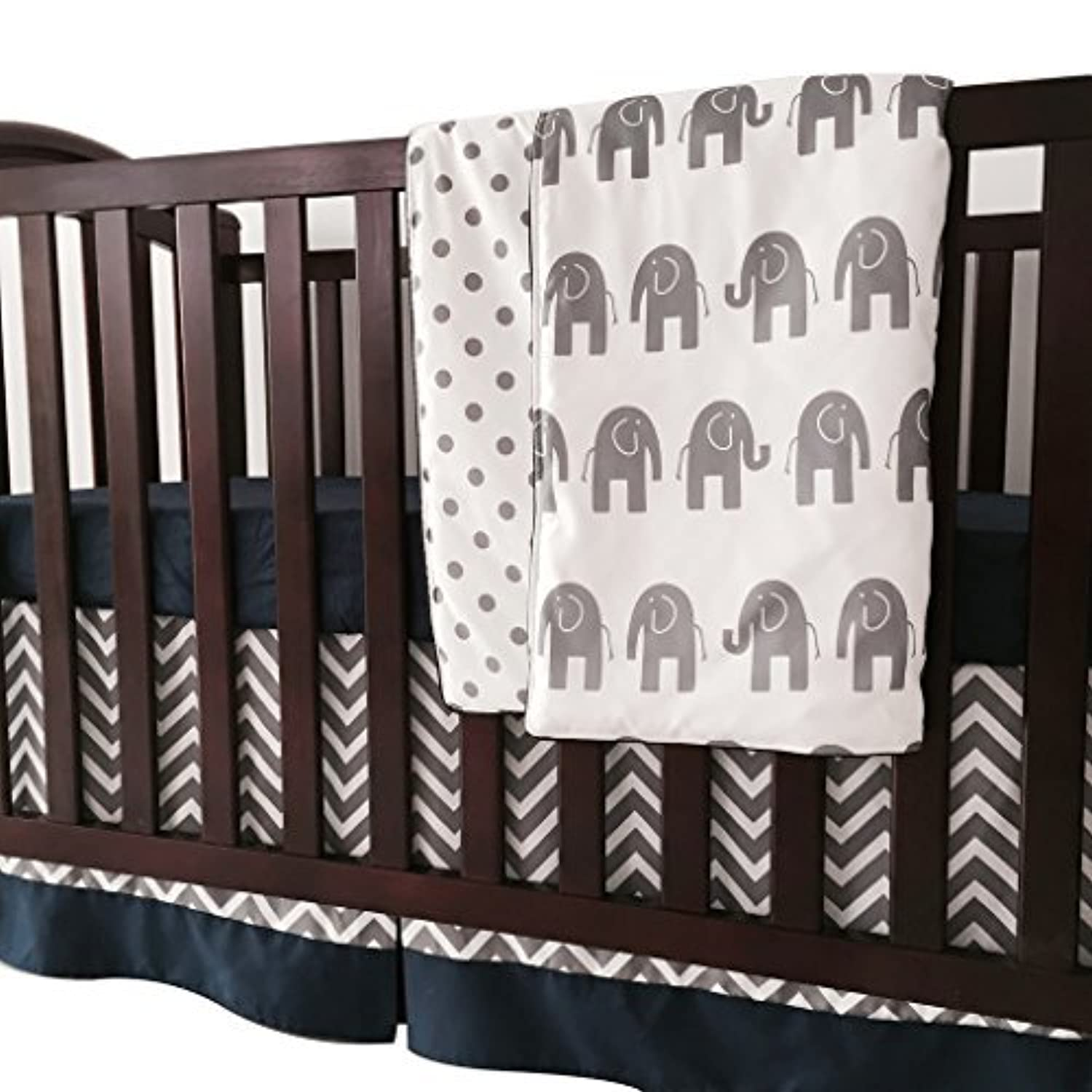 Sahaler Navy Blue Grey Chevron Elenphant 3 Piece Crib Bedding Set Baby Comforter Sheet Set [並行輸入品]